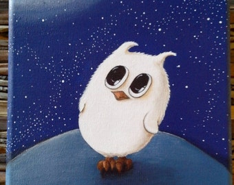 Contemporary painting of a little OWL