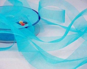 Turquoise blue organza Ribbon