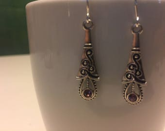 1920's style dangle earrings with purple stone