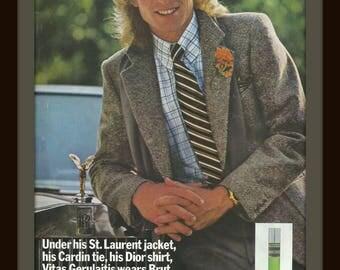 1978 BRUT BY FABERGE  - Vintage Ad - Men's Fragrance - Vitas Gerulaitis - Cologne - Retro Ad - Wall Decor