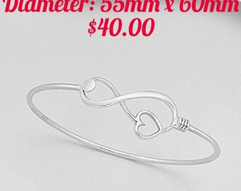Sterling Silver Infinity Heart Bangle
