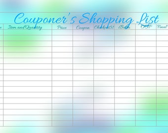 Couponer's Shopping List - A5 Size