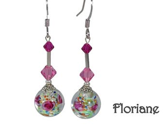 Glass of Venice and Floriane Swarovski Crystal dangling earrings