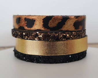 Cuff leather tones Brown/leopard/black magnetic clasp