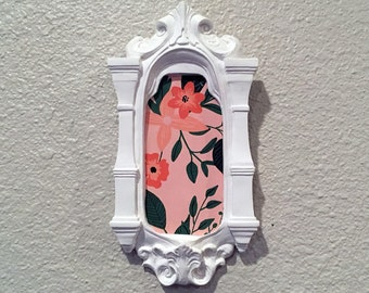 Contemporary Crafted Vintage Style Pink Floral Gallery Wall Decor.