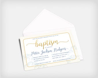 Baptism Invitation | Available in 3 colors!! Beige, Blue or Pink | DIY Printable or Full Service Printing Available