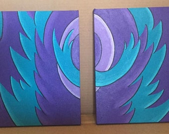 12x12 Purple and Turquoise Abstract Acrylic Painting