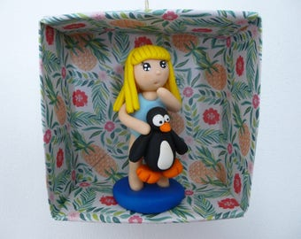 Lady with lifebuoy Penguin in a pretty origami frame