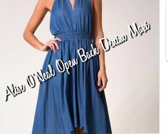 Denim Open Back Halter Dress
