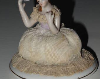 China Pin Cushion Lady Doll Half Figure Vintage - os