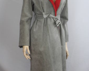 80s leather trench, vintage 1980s coat, gray suede coat, vintage red grey suede coat, vintage trench coat, grey red, 1980s M medium
