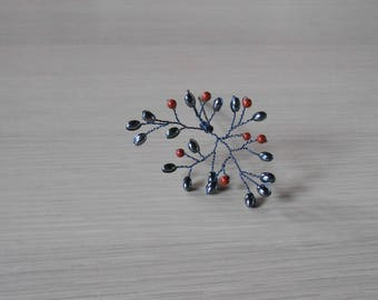 Hairpin pearls grey and Red