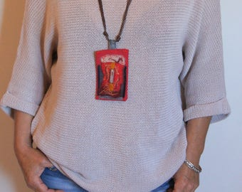 Talisman, textile necklace recycled