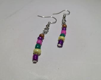 21. Multicoloured Dangling Earrings (Silver Plated) Jewellery