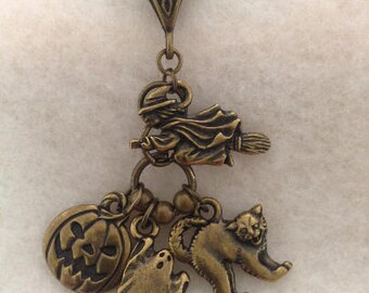 Samhain Halloween Flying Witch and Friends Antique Brass Charm Necklace
