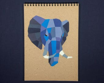 Paper Cut Notebook Kraft Book Spiral Handmade Cover Elephant Notepad Drawing Recycled Eco Friendly Animal Blank Grid Journal