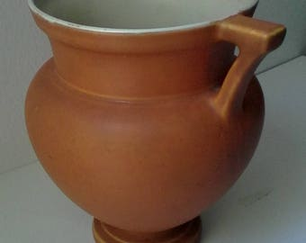 coors pottery urn desert-earth-colored vase with handles,  cream interior