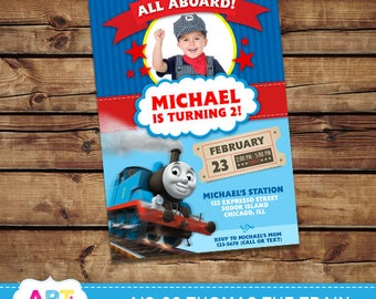 Thomas the Train Invite, Thomas the Train Birthday Invitations, Digital Printable Party Invite, Personalized Thomas Printable Card - AIS-26