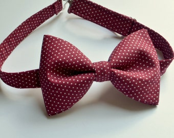 Burgundy Bow Tie, Men's Bow Ties, Boys Bow Ties, Polka Dots Bow Ties, Maroon Bow Ties, Kids Bow Tie, Clip Bow Tie, Toddler Bow Tie