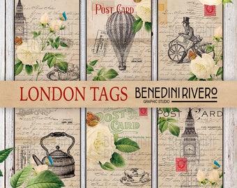 Vintage London - 2.5 x 2.5 Inch - ATC ACEO tag card label vintage image printable download digital collage sheet clip art