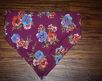 Dog bandana, elastic bandana, Floral purple and pink bandana