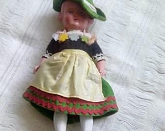 Sweet little celluloid National Costume doll, Austrian  Swiss, German ?, collectors item circa 1950's.