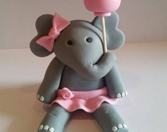 Fondant Elephant Cake Topper, Pink Elephant, Edible Elephant,Birthday Party Elephant