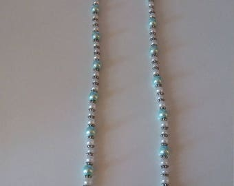 Necklace Pearl Turquoise and White
