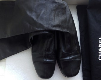 Vintage CHANEL shoes authentic stretch lambskin 37,5 flats shoes loafers sockboots