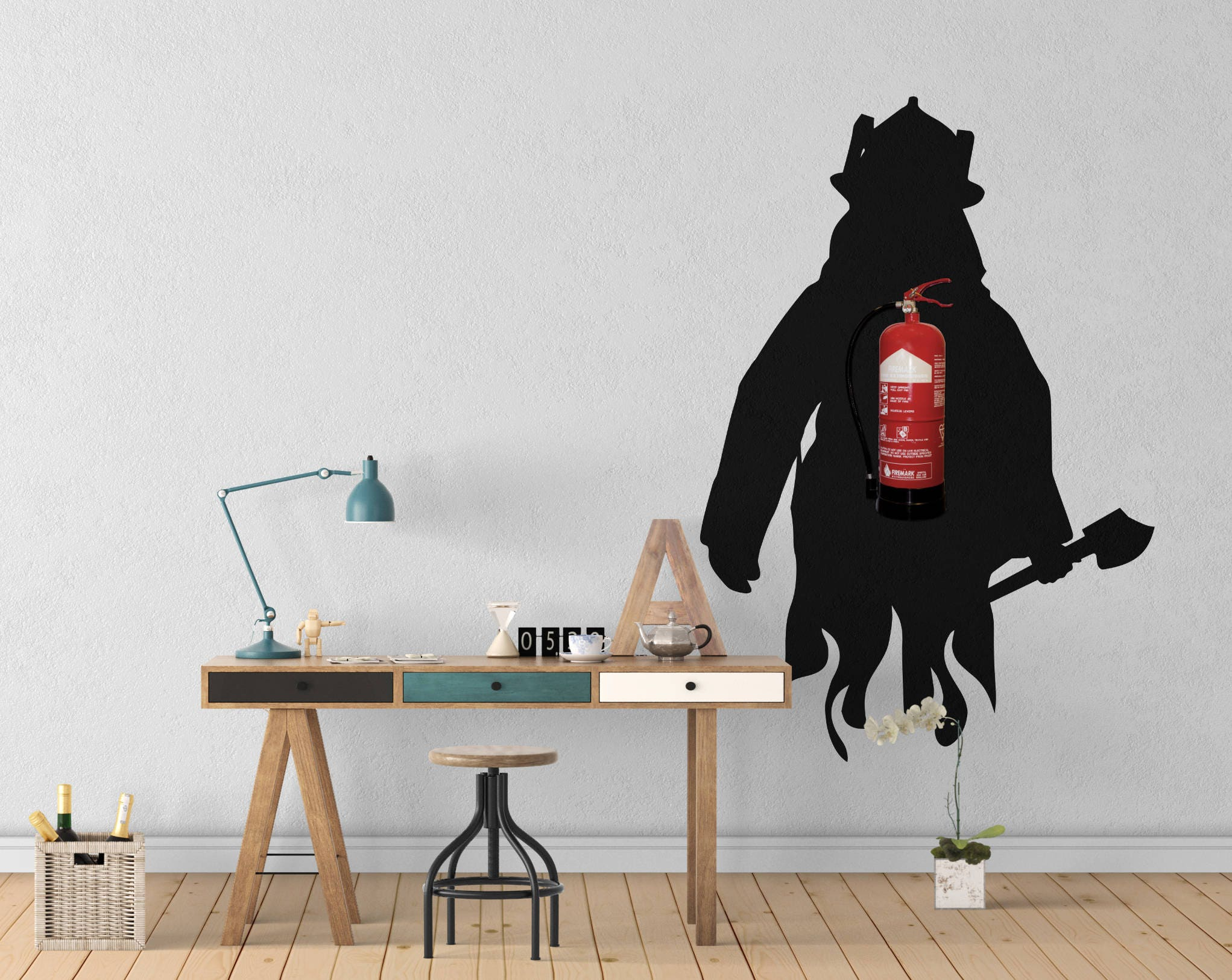 Fireman fire extinguisher wall decal wall decals for office wall fireman fire extinguisher wall decal wall decals for office wall decoration extinguisher disguise wall vinyl decal wall stickers amipublicfo Images