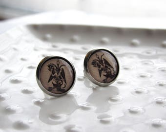 Baphomet Earrings - Stainless steel Earrings - 12mm rounds - Epoxy resin - Occult Symbolism - Sensitive Earrings - Goat Symbolism - Mystical
