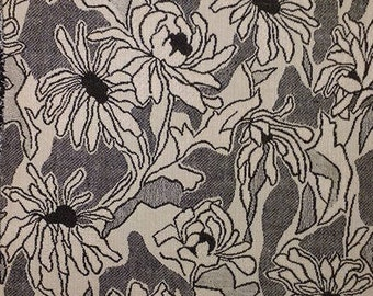 Mid Century Floral Jacquard Cotton Cloth Decorator Crafting Material