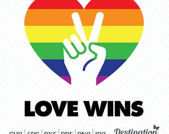 Love Wins SVG Files, Gay Pride Cutting Files, Gay Heart Silhouette Files, Cricut Files, Vinyl Decal Vector, dxf eps png jpg pdf, D/027