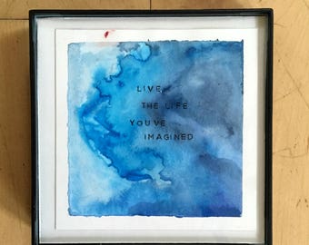Blue abstract watercolor painting art decor motivational quote art print cute home decor abstract watercolor print art print inspirational