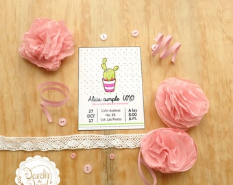 Birthday party invitation / invitation for her / invitation for girl/invitation of cactu/ArchivoEditable/printable at home