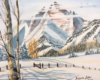 Snow Mountain | Maroon Bells | Aspen, CO | Colorado Mountains | Gift for Skiier | Mountain Skiing | Snow Bunny Gift | Original Piece