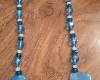 Hand made, one of a kind, Blue agate necklace