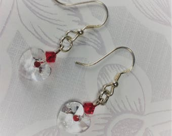 Silver plated drop earrings with Swarovski clear crystal hearts and Swarovski red bicones