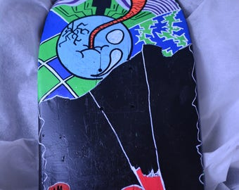 Hand painted broken skateboard deck