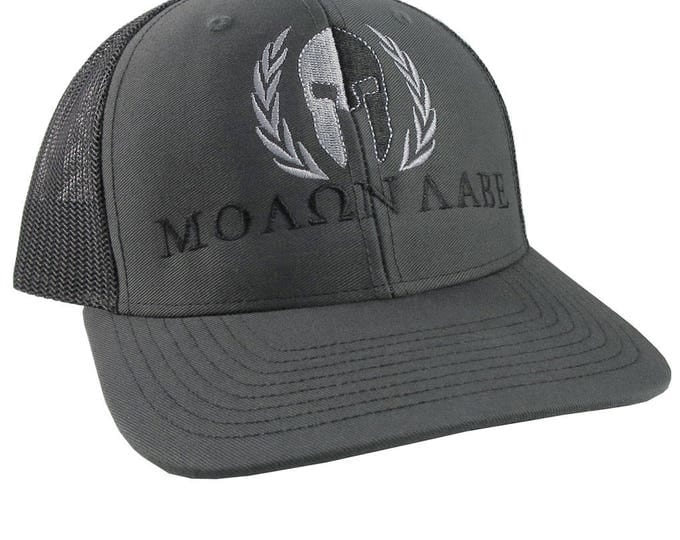 Large Molon Labe Spartan Warrior in Laurels Silver and Black Embroidery on Adjustable Charcoal Structured Truckers Style Snapback Ball Cap