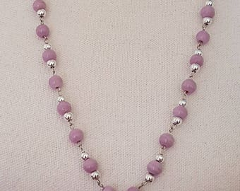 Necklace glass beads Lilac