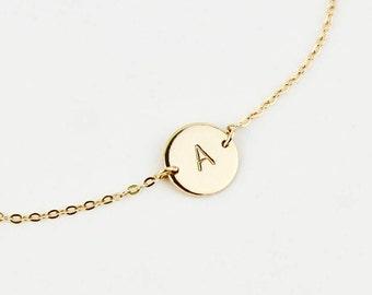 Monogram Disc Bracelet - Gold or Silver Personalized Initial Disc Bracelet - Monogram Gift Bracelet - Personalized Gift Bracelet Jewelry