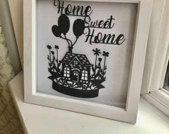 Home Sweet Home paper art cut out