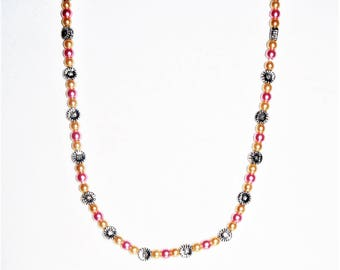 CUTE Pink And Champagne Glass Beaded Slip On Necklace (no clasp)