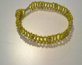 Yellow seed beads bracelet