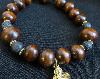Wooden Buddha Stretch Bracelet