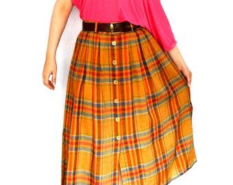 BIG SALE 50s Pleated Plaid Skirt Button Down Maxi Skirt Size - L, 16 (Uk), 12 (US)