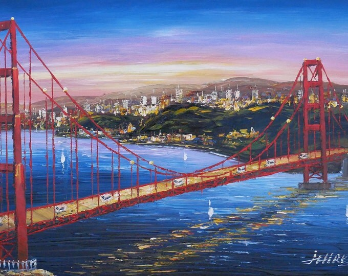 Golden Gate Art San Francisco Painting Handmade Oil on Canvas Wall Art Beautiful Decor