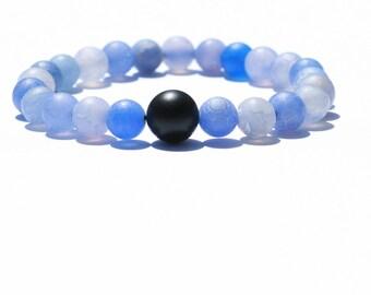 Sky Bracelet Men's Jewelry, Women's Bracelets, Men's Bracelets, Bead Bracelet, Gifts for Him, Gifts for Her, Agate, Onyx, Black, Blue