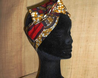 African turban, hard headband for woman and girl, Ankara red-brown-beige